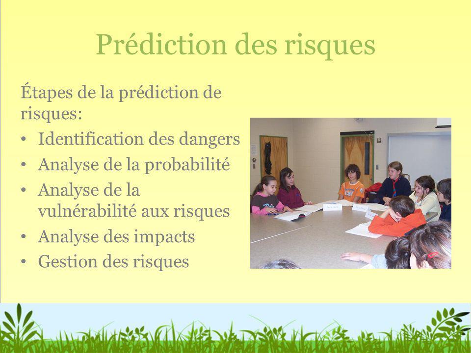 Prédiction des risques Étapes de la prédiction de risques: Identification des dangers Analyse de la probabilité Analyse de la vulnérabilité aux risque
