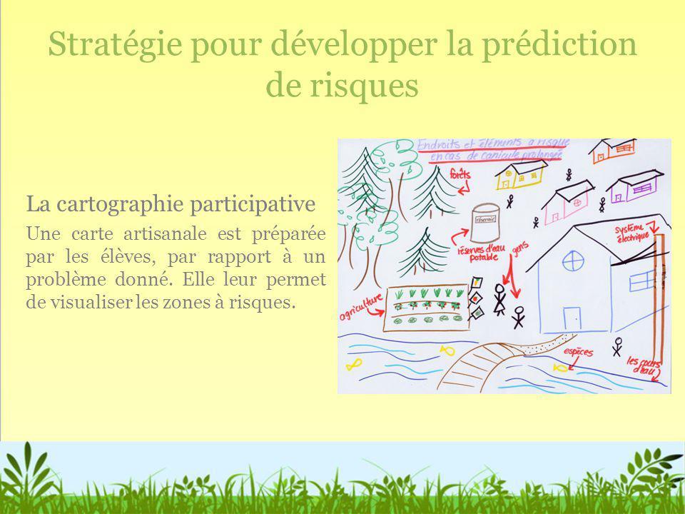 Stratégie pour développer la prédiction de risques La cartographie participative Une carte artisanale est préparée par les élèves, par rapport à un pr