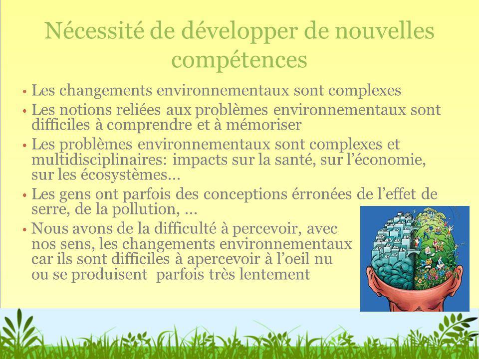 Nécessité de développer de nouvelles compétences Les changements environnementaux sont complexes Les notions reliées aux problèmes environnementaux so