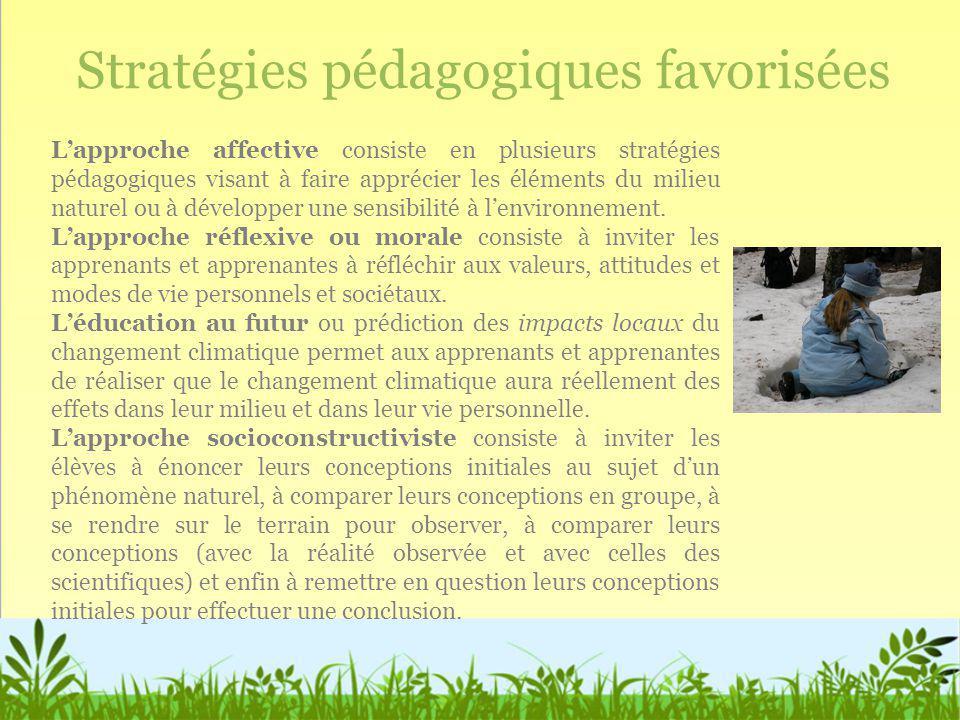 Stratégies pédagogiques favorisées Lapproche affective consiste en plusieurs stratégies pédagogiques visant à faire apprécier les éléments du milieu n