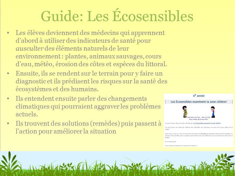 Guide: Les Écosensibles Les élèves deviennent des médecins qui apprennent d'abord à utiliser des indicateurs de santé pour ausculter des éléments natu