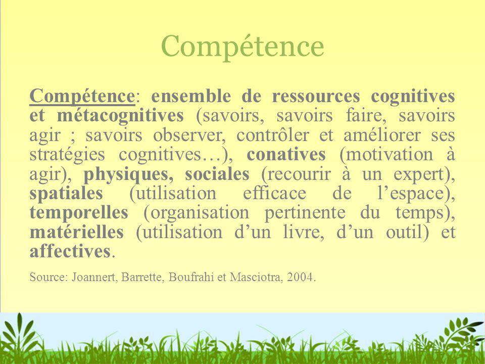 Compétence Compétence: ensemble de ressources cognitives et métacognitives (savoirs, savoirs faire, savoirs agir ; savoirs observer, contrôler et amél
