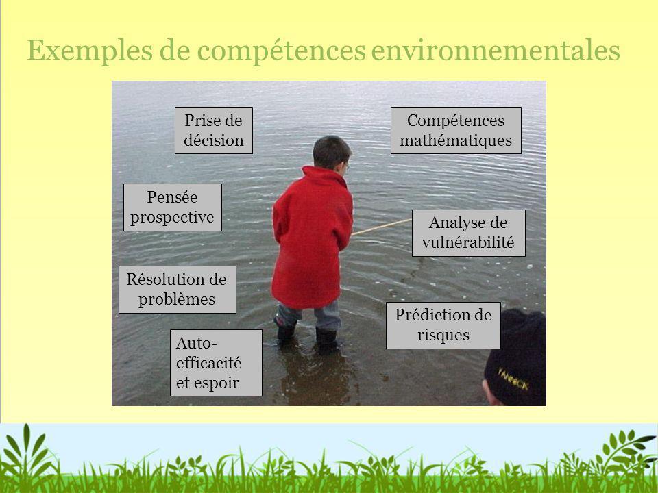 Exemples de compétences environnementales Prise de décision Pensée prospective Résolution de problèmes Auto- efficacité et espoir Compétences mathémat