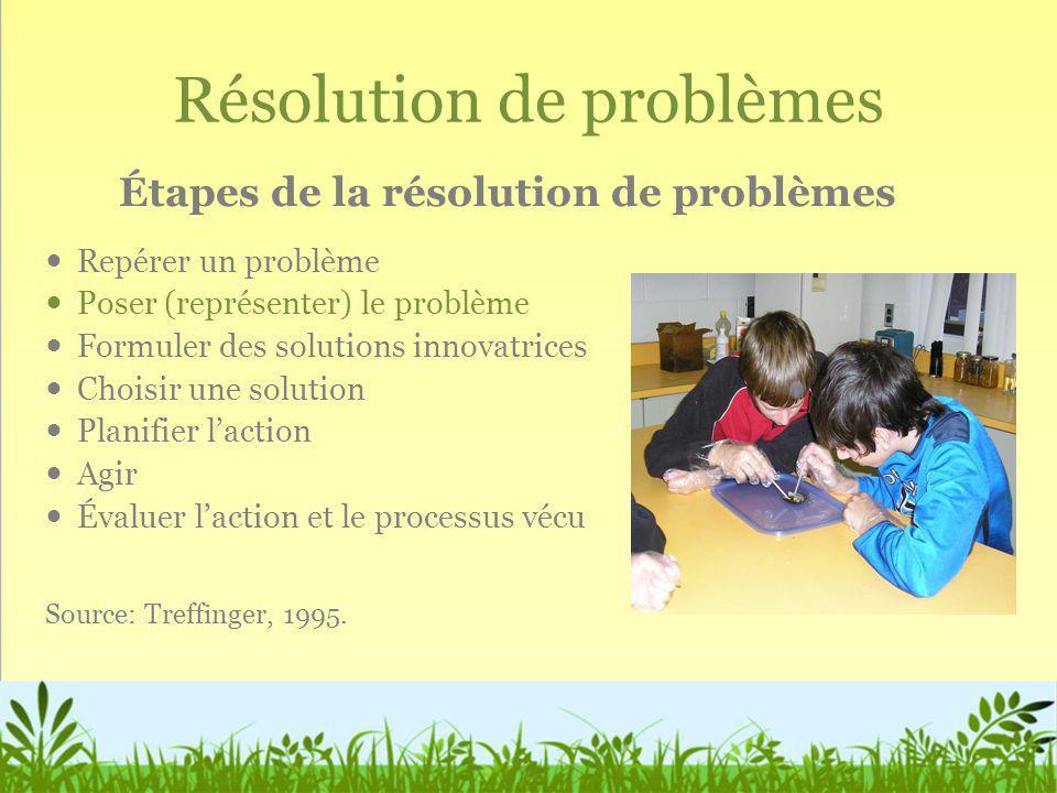 Résolution de problèmes Repérer un problème Poser (représenter) le problème Formuler des solutions innovatrices Choisir une solution Planifier laction