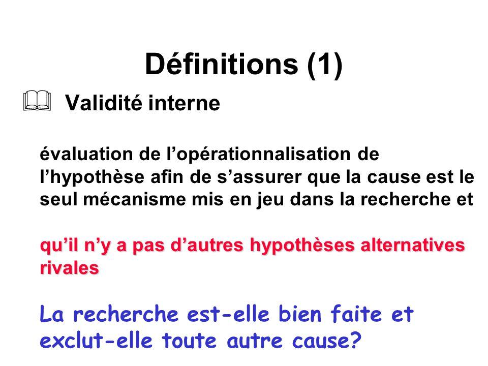 Définitions (1) quil ny a pas dautres hypothèses alternatives rivales Validité interne évaluation de lopérationnalisation de lhypothèse afin de sassur
