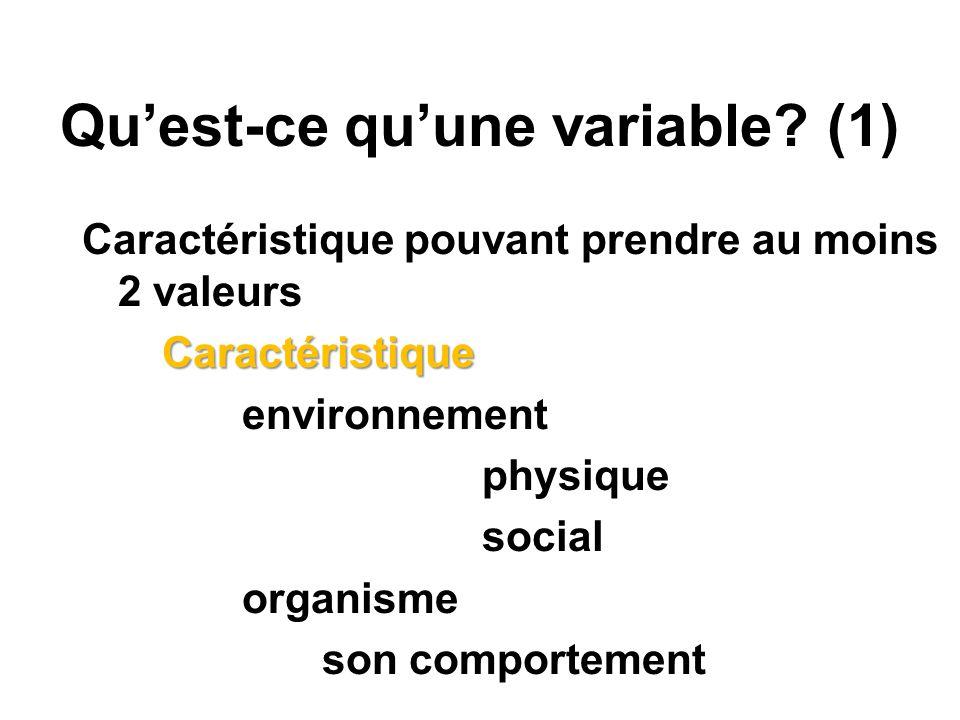 Quest-ce quune variable? (1) Caractéristique pouvant prendre au moins 2 valeursCaractéristique environnement physique social organisme son comportemen