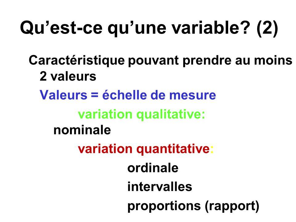 Quest-ce quune variable? (2) Caractéristique pouvant prendre au moins 2 valeurs Valeurs = échelle de mesure variation qualitative: nominale variation