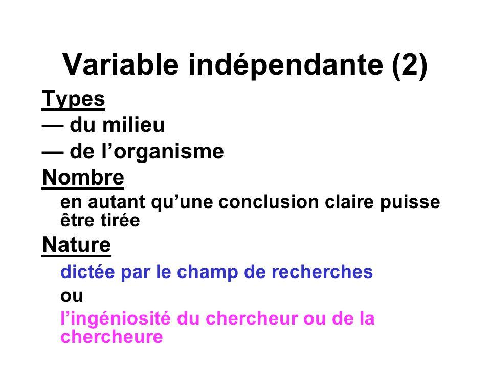 Plans à groupes indépendants: organisation (1) Organisation minimale: 1 v.