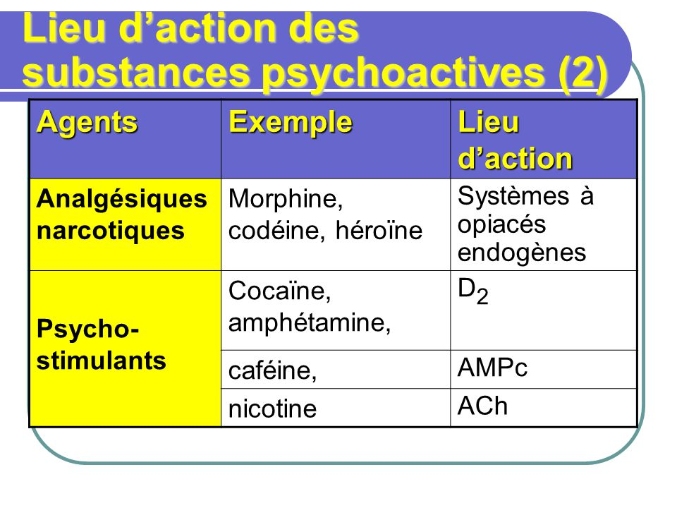 Lieu daction des substances psychoactives (2) AgentsExemple Lieu daction Analgésiques narcotiques Morphine, codéine, héroïne Systèmes à opiacés endogènes Psycho- stimulants Cocaïne, amphétamine, D2D2 caféine, AMPc nicotine ACh