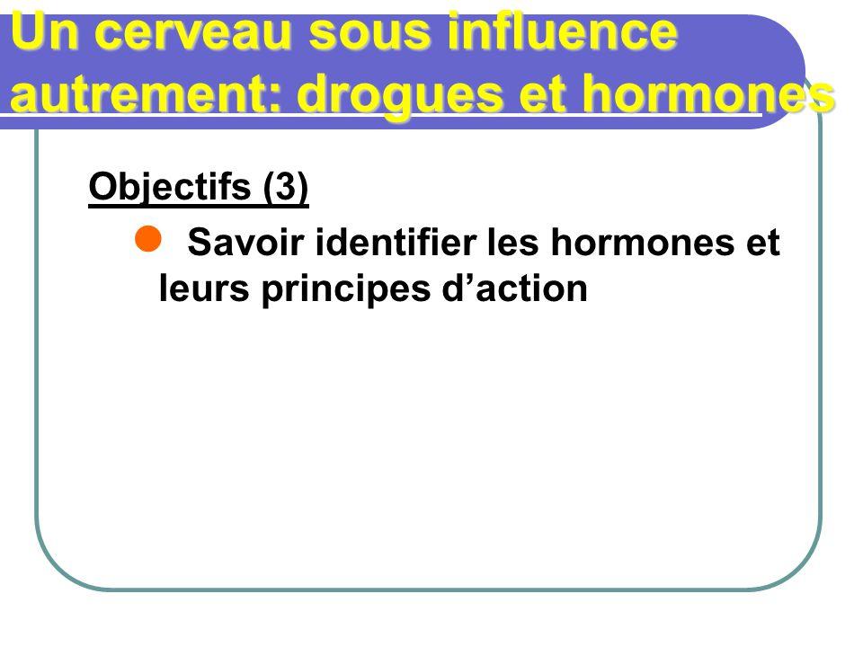 Un cerveau sous influence autrement: drogues et hormones Objectifs (3) Savoir identifier les hormones et leurs principes daction