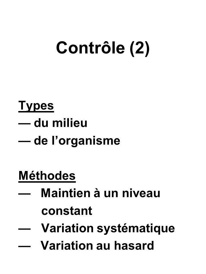 Contrôle (2) Types du milieu de lorganisme Méthodes Maintien à un niveau constant Variation systématique Variation au hasard