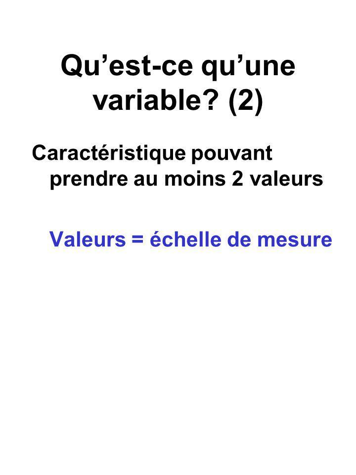 Quest-ce quune variable? (2) Caractéristique pouvant prendre au moins 2 valeurs Valeurs = échelle de mesure