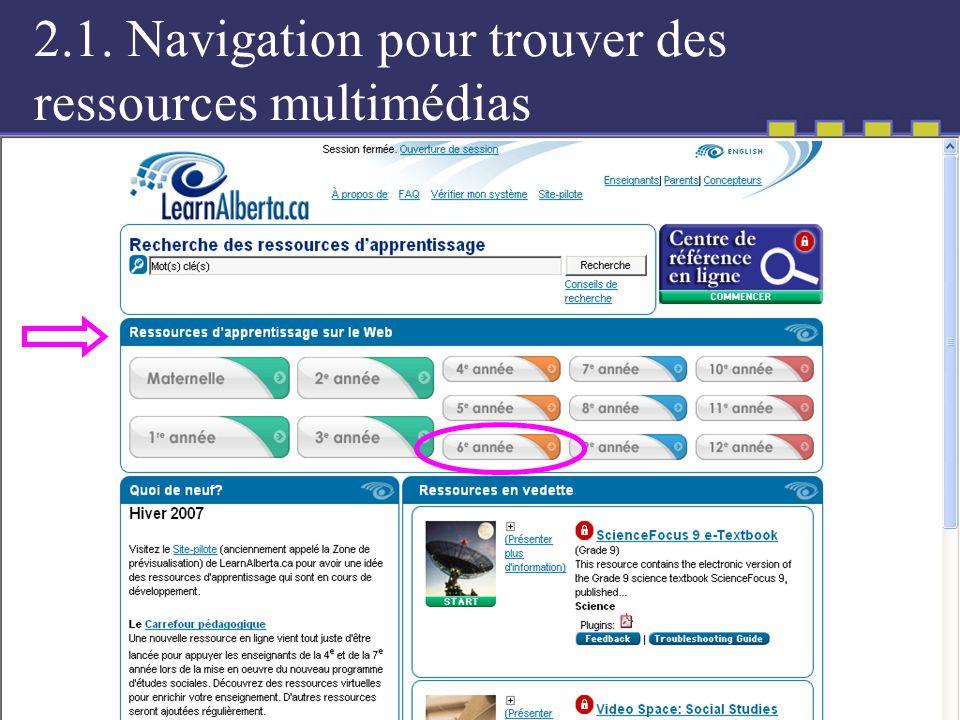 2.1. Navigation pour trouver des ressources multimédias