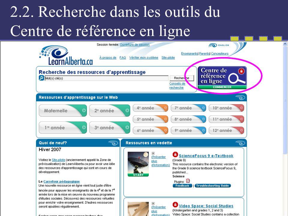 2.2. Recherche dans les outils du Centre de référence en ligne