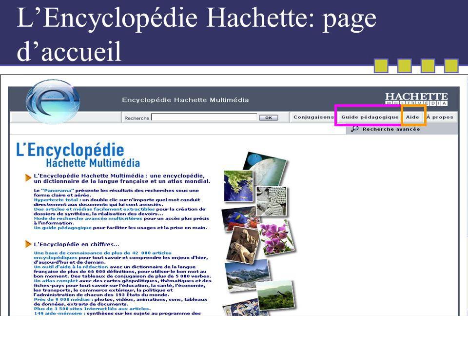 LEncyclopédie Hachette: page daccueil