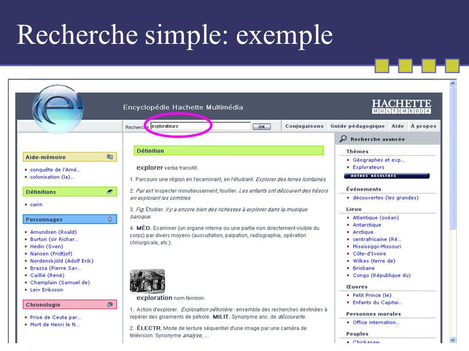 Recherche simple: exemple