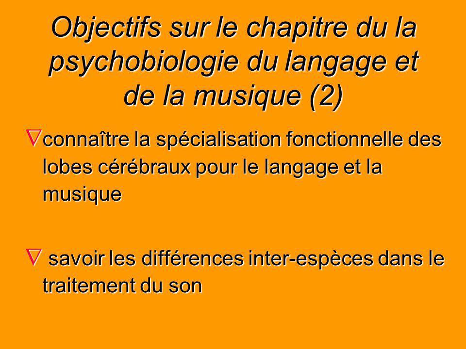 Objectifs sur le chapitre du la psychobiologie du langage et de la musique (2) connaître la spécialisation fonctionnelle des lobes cérébraux pour le l