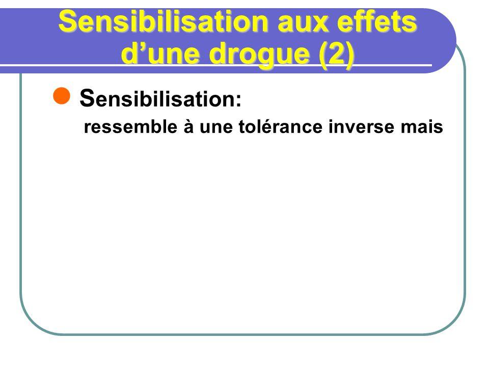 Sensibilisation aux effets dune drogue (2) S ensibilisation: ressemble à une tolérance inverse mais