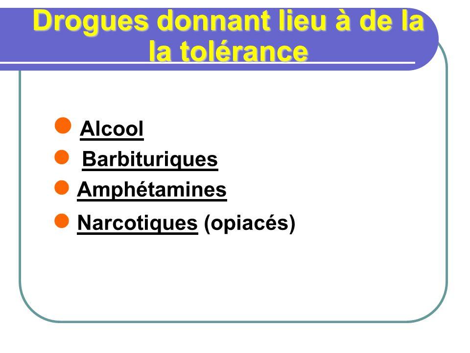 Drogues donnant lieu à de la la tolérance Alcool Barbituriques Amphétamines Narcotiques (opiacés)