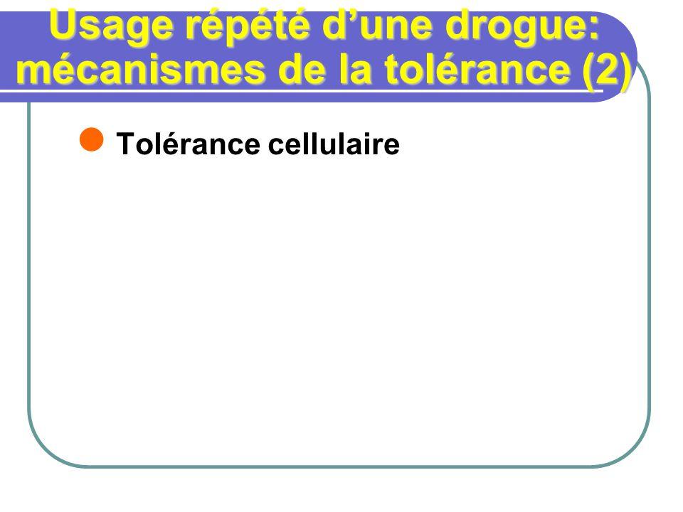Usage répété dune drogue: mécanismes de la tolérance (2) Tolérance cellulaire