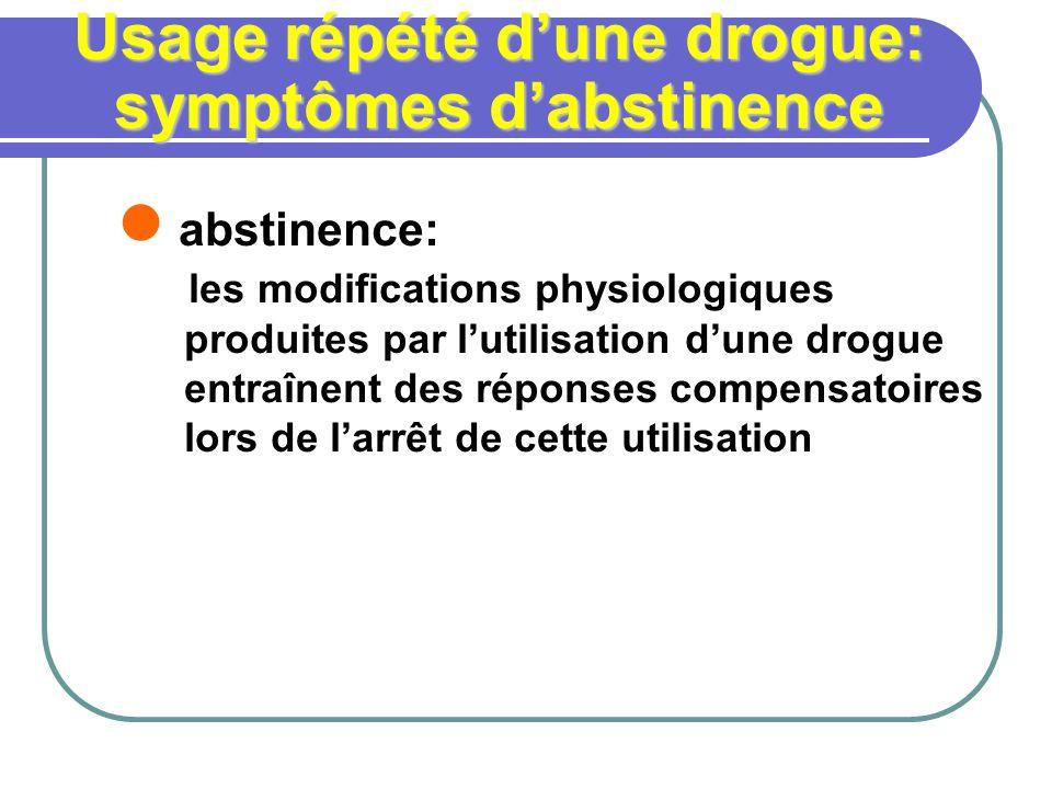 Usage répété dune drogue: symptômes dabstinence abstinence: les modifications physiologiques produites par lutilisation dune drogue entraînent des rép