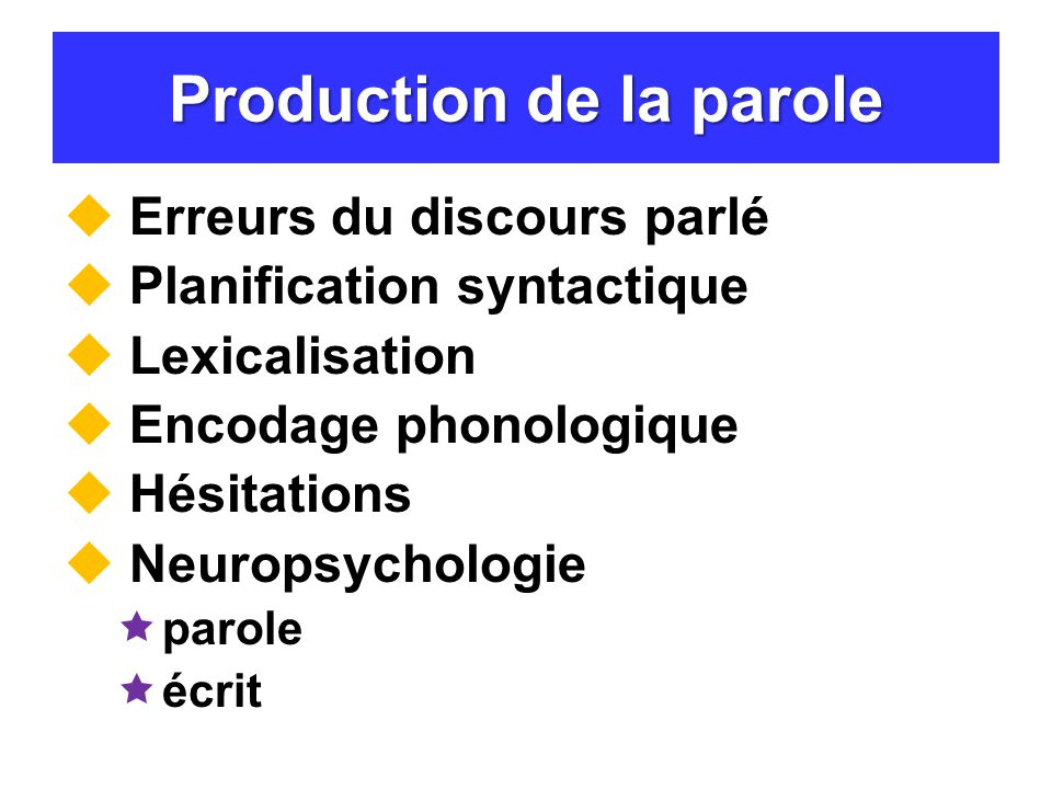 Production de la parole Erreurs du discours parlé Planification syntactique Lexicalisation Encodage phonologique Hésitations Neuropsychologie parole é
