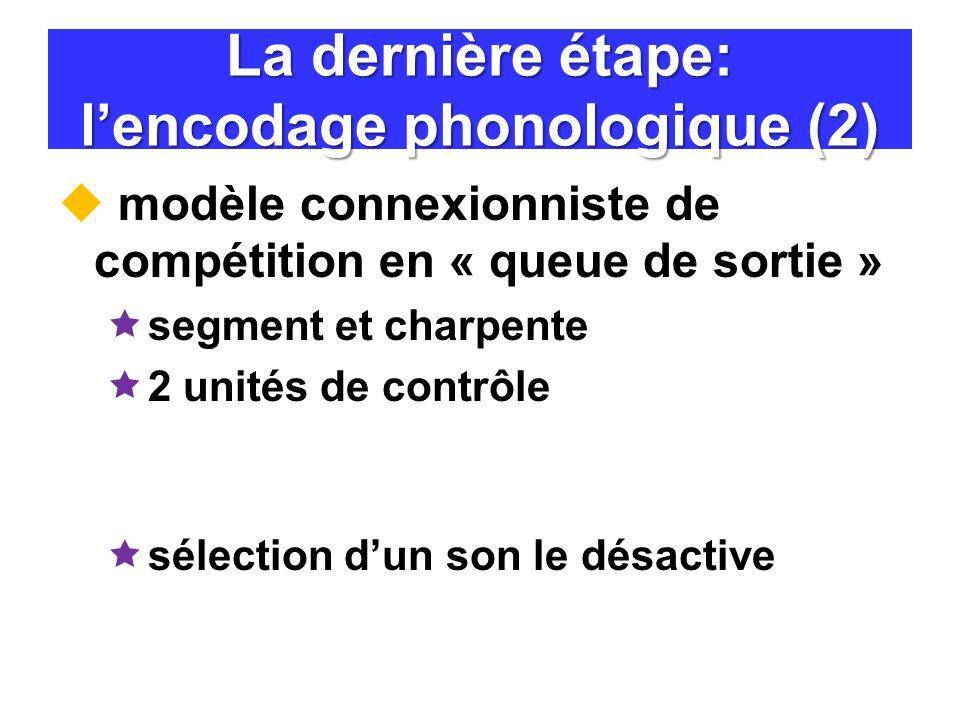 La dernière étape: lencodage phonologique (2) modèle connexionniste de compétition en « queue de sortie » segment et charpente 2 unités de contrôle sé