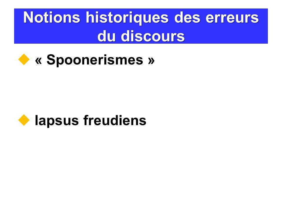Notions historiques des erreurs du discours « Spoonerismes » lapsus freudiens