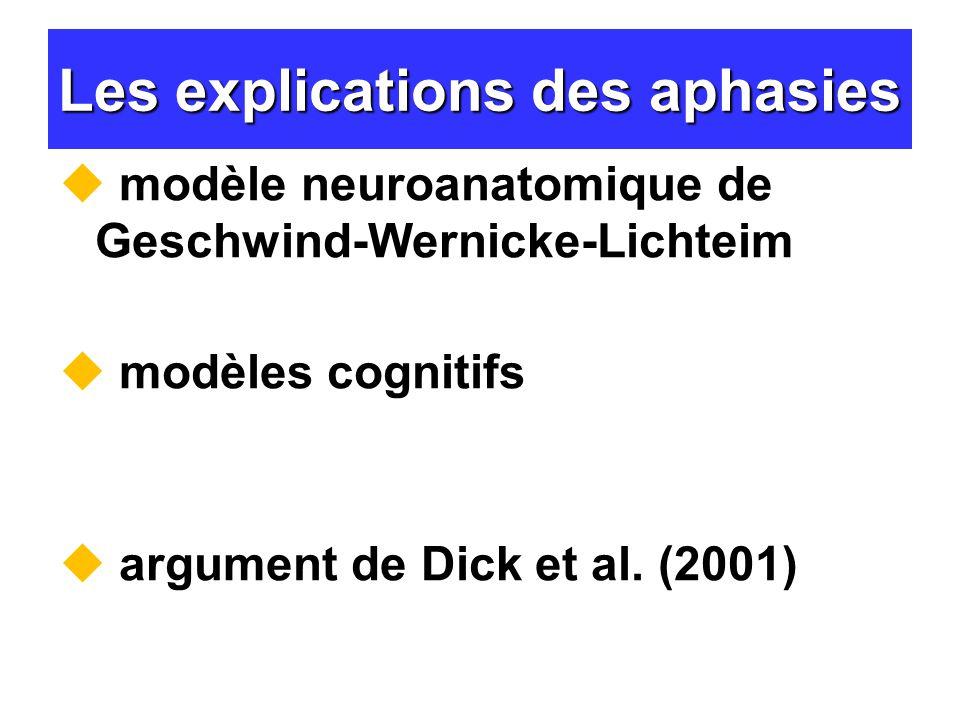 Les explications des aphasies modèle neuroanatomique de Geschwind-Wernicke-Lichteim modèles cognitifs argument de Dick et al. (2001)