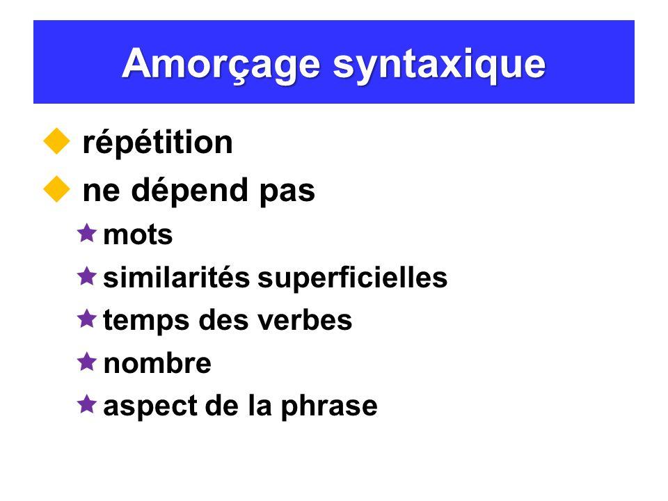 Amorçage syntaxique répétition ne dépend pas mots similarités superficielles temps des verbes nombre aspect de la phrase