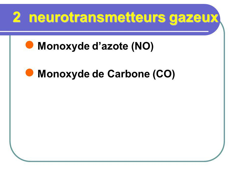 2 neurotransmetteurs gazeux Monoxyde dazote (NO) Monoxyde de Carbone (CO)