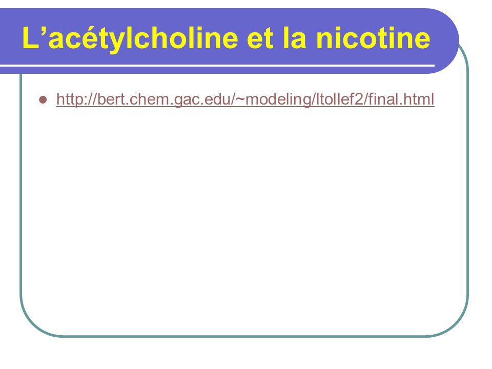 Lacétylcholine et la nicotine http://bert.chem.gac.edu/~modeling/ltollef2/final.html