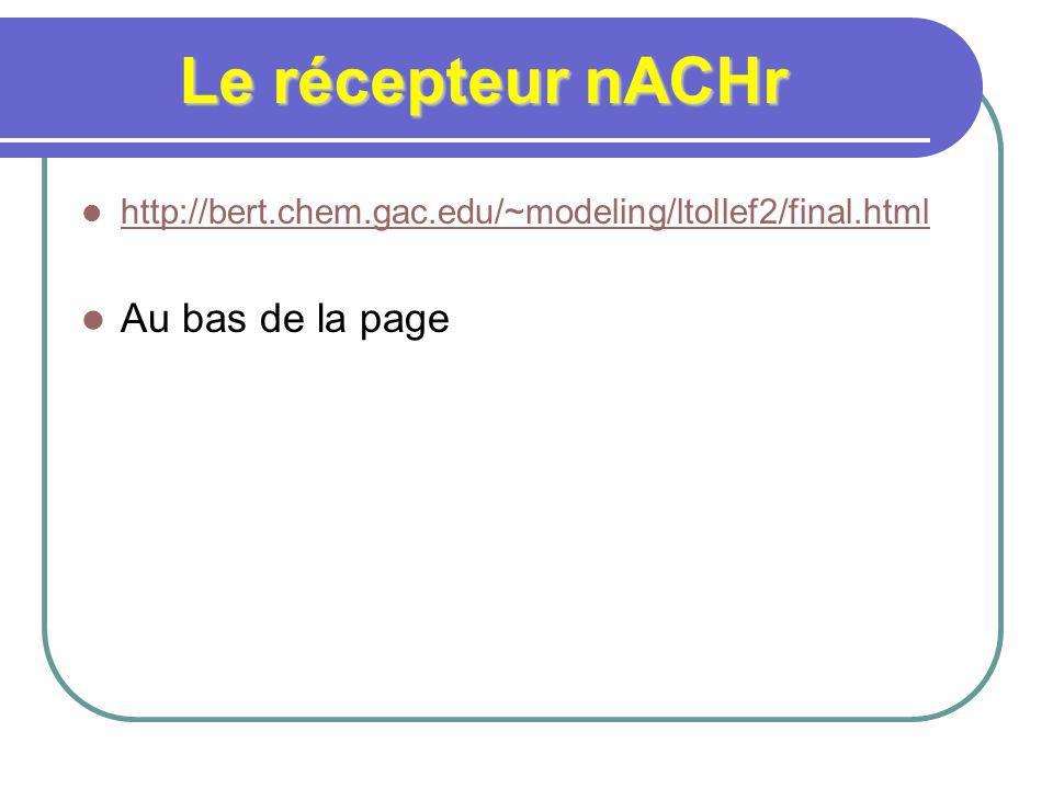 Le récepteur nACHr http://bert.chem.gac.edu/~modeling/ltollef2/final.html Au bas de la page