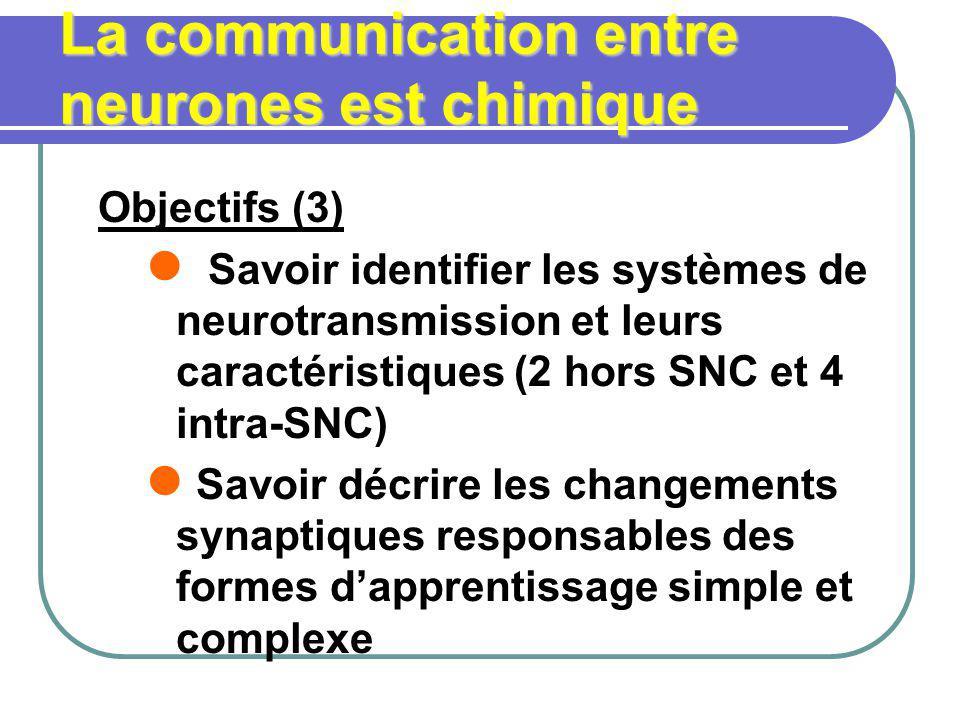 La communication entre neurones est chimique Objectifs (3) Savoir identifier les systèmes de neurotransmission et leurs caractéristiques (2 hors SNC e