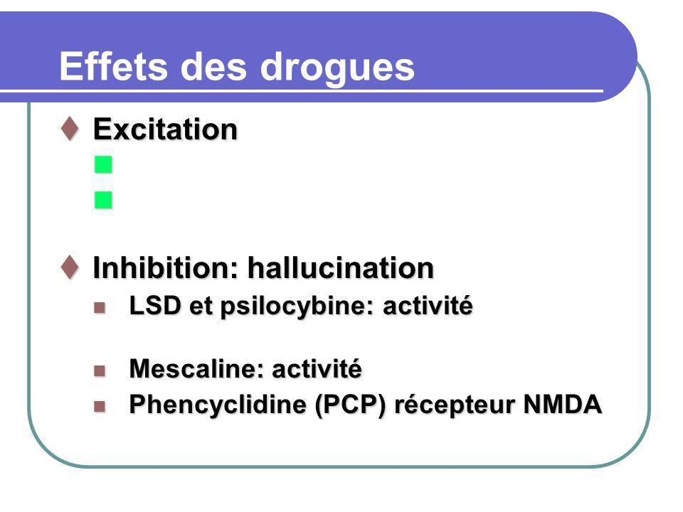 Effets des drogues Excitation Excitation n n n n n Inhibition: hallucination Inhibition: hallucination n LSD et psilocybine: activité n Mescaline: activité n Phencyclidine (PCP) récepteur NMDA