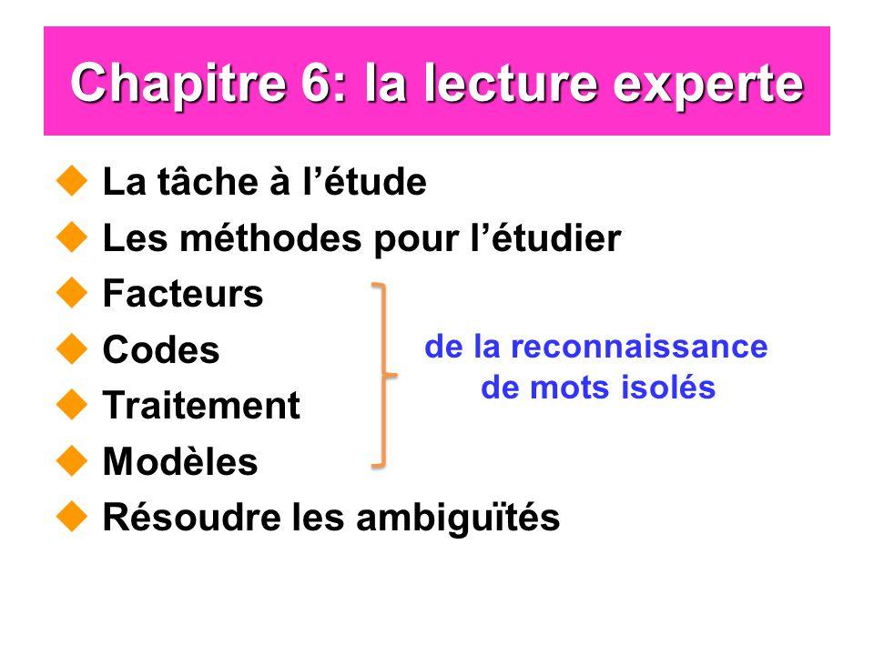 Chapitre 6: la lecture experte La tâche à létude Les méthodes pour létudier Facteurs Codes Traitement Modèles Résoudre les ambiguïtés de la reconnaissance de mots isolés