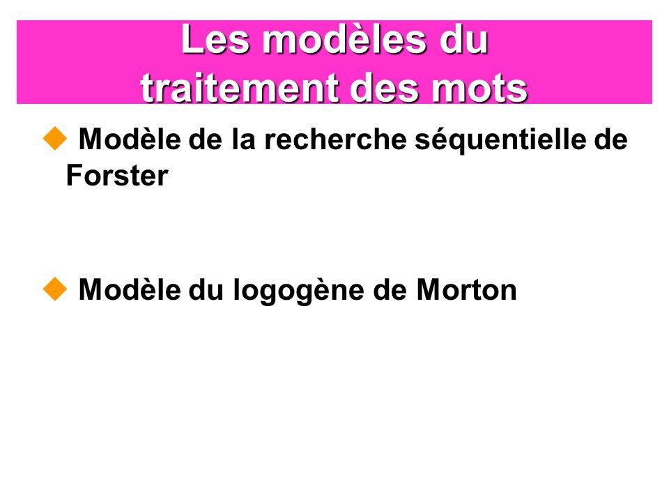 Les modèles du traitement des mots Modèle de la recherche séquentielle de Forster Modèle du logogène de Morton