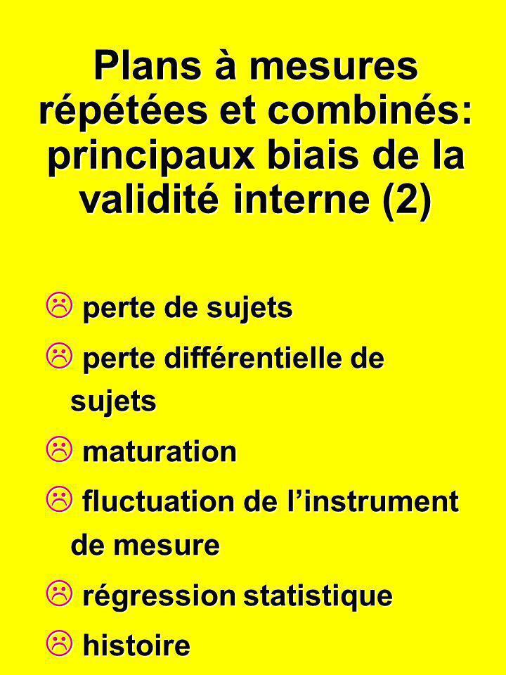 Plans à mesures répétées et combinés: principaux biais de la validité interne (2) perte de sujets perte de sujets perte différentielle de sujets perte
