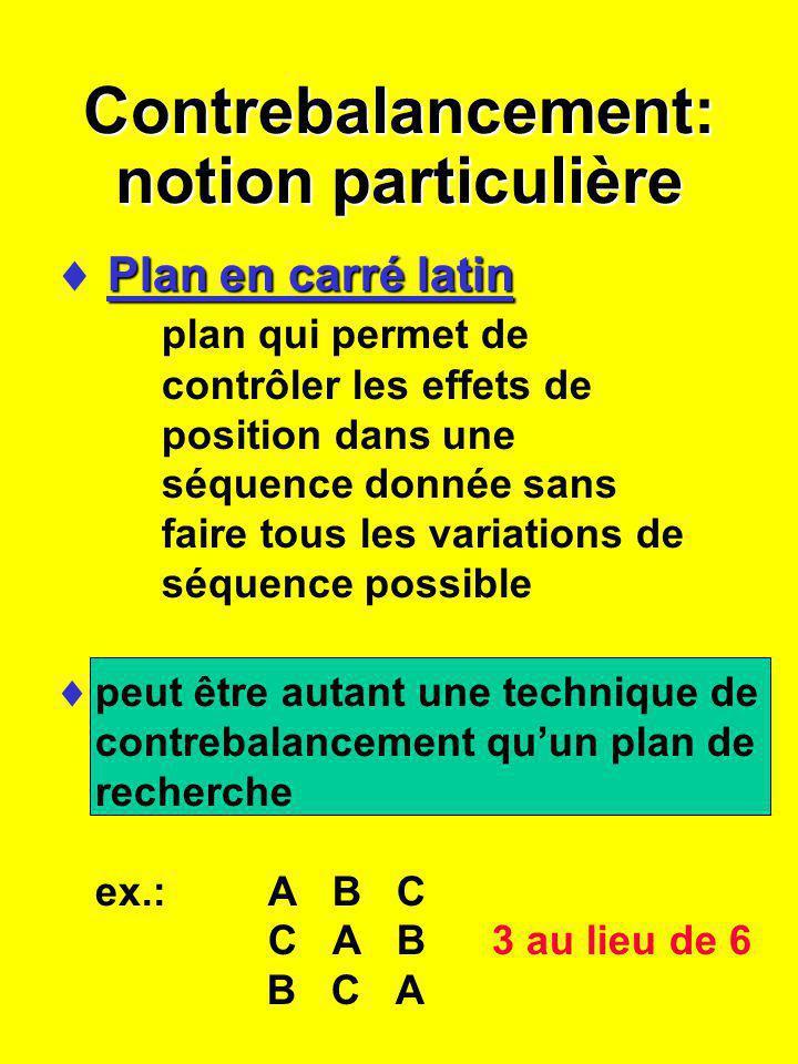 Contrebalancement: notion particulière Plan en carré latin Plan en carré latin plan qui permet de contrôler les effets de position dans une séquence d