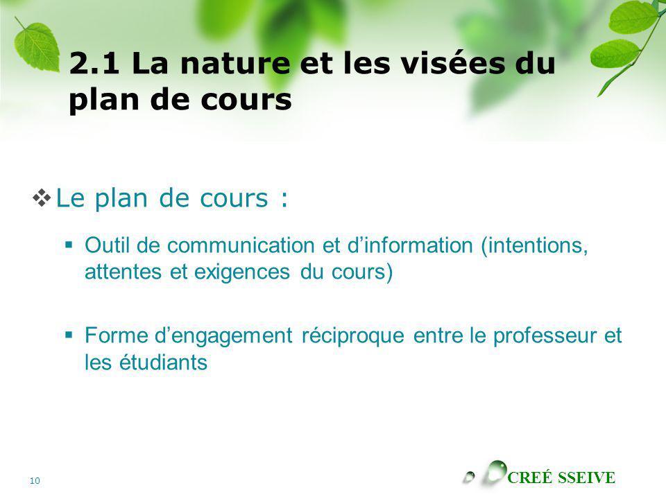 CREÉ SSEIVE 10 2.1 La nature et les visées du plan de cours Le plan de cours : Outil de communication et dinformation (intentions, attentes et exigenc