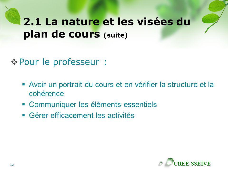CREÉ SSEIVE 12 2.1 La nature et les visées du plan de cours (suite) Pour le professeur : Avoir un portrait du cours et en vérifier la structure et la cohérence Communiquer les éléments essentiels Gérer efficacement les activités