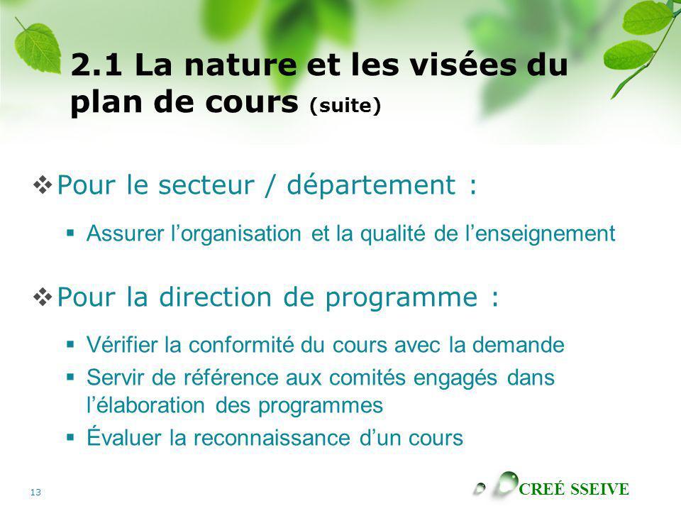 CREÉ SSEIVE 13 2.1 La nature et les visées du plan de cours (suite) Pour le secteur / département : Assurer lorganisation et la qualité de lenseigneme
