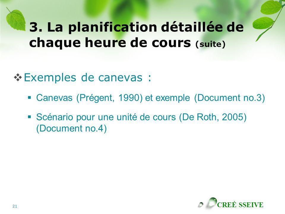 CREÉ SSEIVE 21 3. La planification détaillée de chaque heure de cours (suite) Exemples de canevas : Canevas (Prégent, 1990) et exemple (Document no.3)