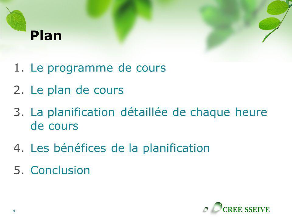 CREÉ SSEIVE 4 Plan 1.Le programme de cours 2.Le plan de cours 3.La planification détaillée de chaque heure de cours 4.Les bénéfices de la planification 5.Conclusion