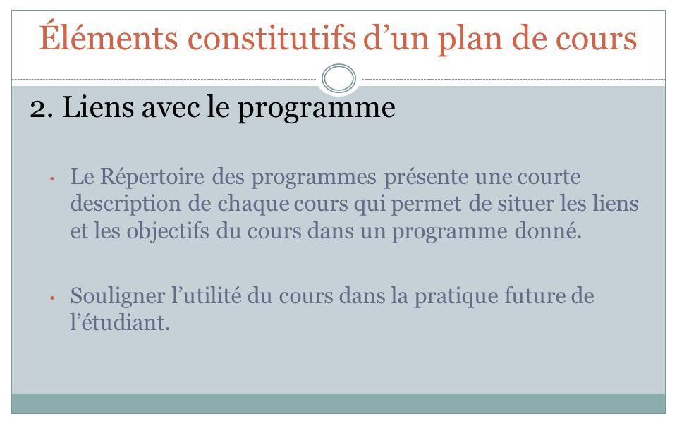 Éléments constitutifs dun plan de cours 2. Liens avec le programme Le Répertoire des programmes présente une courte description de chaque cours qui pe