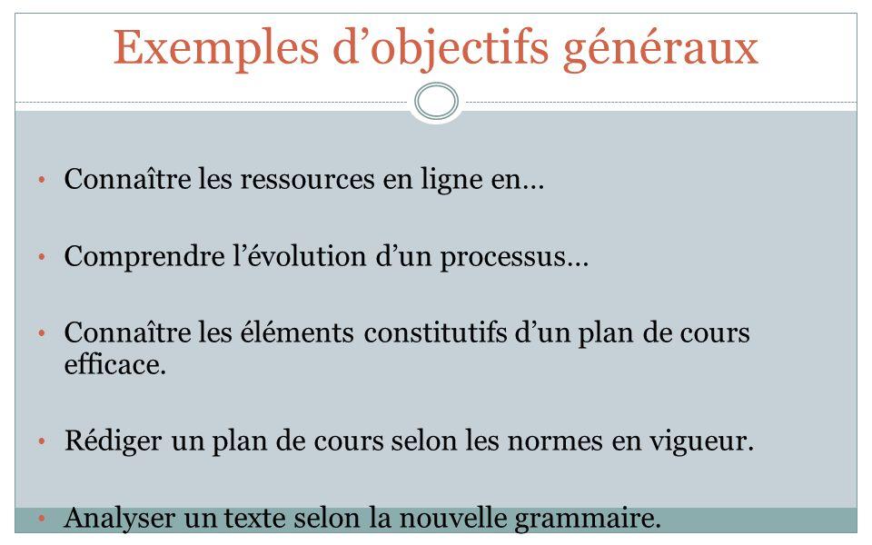Exemples dobjectifs généraux Connaître les ressources en ligne en… Comprendre lévolution dun processus… Connaître les éléments constitutifs dun plan d