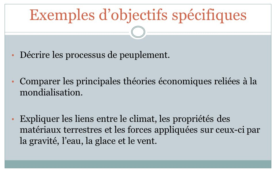 Exemples dobjectifs spécifiques Décrire les processus de peuplement. Comparer les principales théories économiques reliées à la mondialisation. Expliq