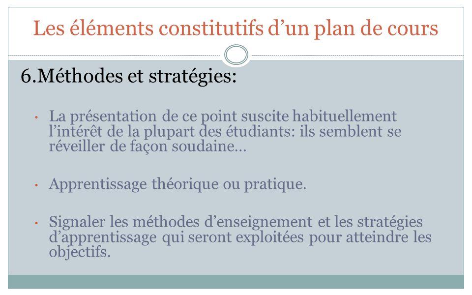Les éléments constitutifs dun plan de cours 6.Méthodes et stratégies: La présentation de ce point suscite habituellement lintérêt de la plupart des étudiants: ils semblent se réveiller de façon soudaine… Apprentissage théorique ou pratique.