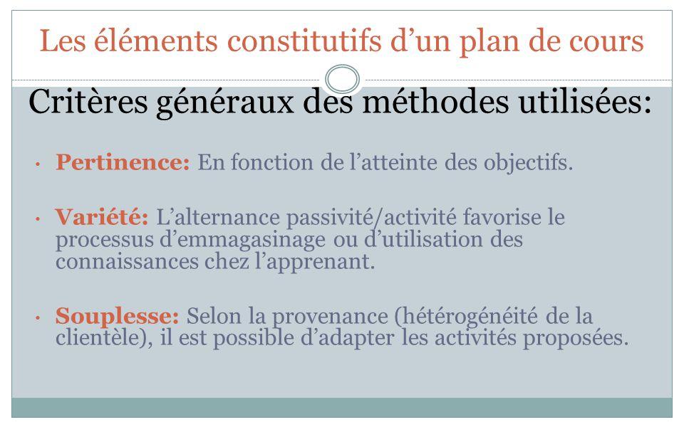 Les éléments constitutifs dun plan de cours Critères généraux des méthodes utilisées: Pertinence: En fonction de latteinte des objectifs. Variété: Lal