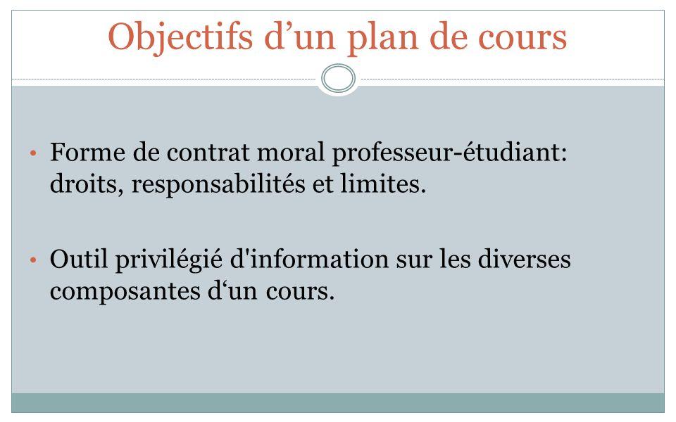 Objectifs dun plan de cours Forme de contrat moral professeur-étudiant: droits, responsabilités et limites. Outil privilégié d'information sur les div